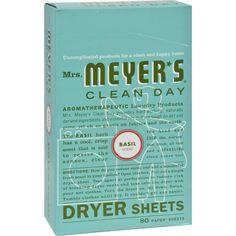 Mrs. Meyer's Dryer Sheets - Basil - Case of 12 - 80 Sheets