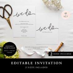 Wedding Invitation (We Do Collection) - DIY Printable Wedding Stationery, Template Set, Simple to edit INSTANT DOWNLOAD by JellypressPrintables on Etsy