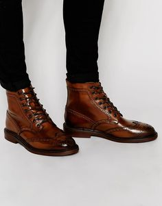 Asos Brogue Boots In Brown Leather With Chunky Sole At