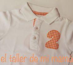 82bbaa8c3bb59 Polo con número dos bordado a mano para niño o niña