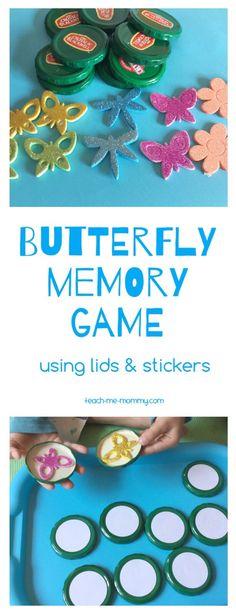 Butterfly Memory Game using Lids Make a fun memory game by using lids and stickers! Simple, but so much fun!