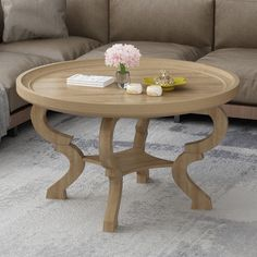 Round Industrial Coffee Table, Round Wooden Coffee Table, Coffee Table With Storage, Coffee Table Design, Wooden Tables, Desk In Living Room, Wood Rounds, Engineered Wood, Solid Wood