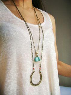 Boho Multi layered set necklace turquoise red #bohemianjewelry #bohochic