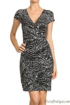 Black Print Wrap Dress.