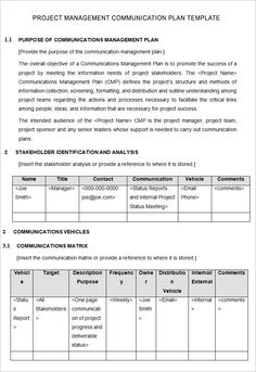 communication plan template word