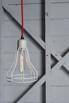 Industrial Lighting - Cage Light Pendant - Swag. $105.00, via Etsy.