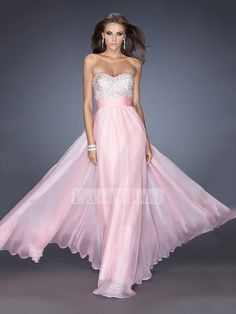 Lovely Pink Sweetheart Beadings Chiffon Prom Dress PD11591
