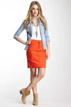 #KarenKane #Orange Jean Skirt on @HauteLook
