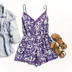 Purple and White Floral Romper