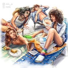 (my art) Creators. A lot of jokes in one image))) You found out the place and time) I gave John these wonderful swimming trunks) Queen Art, I Am A Queen, Save The Queen, John Deacon, Freddie Mercuri, Queen Drawing, Queen Meme, Queen Pictures, Queen Photos