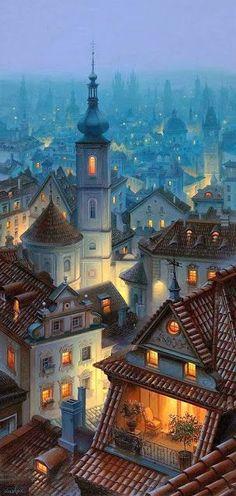 Praga como una ilustracion de cuento