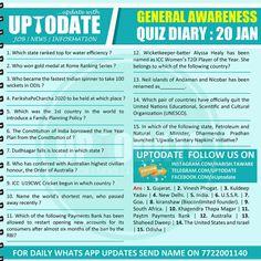 General Awareness #Quiz Diary : 20 Jan Water Efficiency, Names