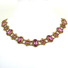 Antique Georgian Pinchbeck and Pink Paste Collier by NouveauMotley