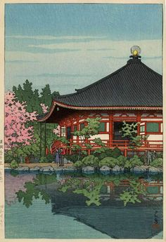 Daigo Denpoin Temple, Kyoto by Kawase Hasui, 1950 (published by Watanabe Shozaburo)
