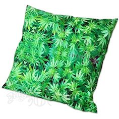 Weed Leaf Green Throw Pillow