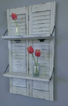 Shabby Shelf White Chic Unique Wood Shutter by ThreeTwigsDesigns