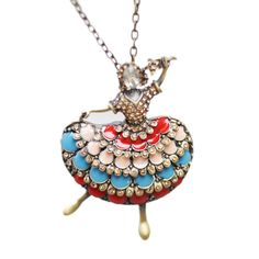 woman Necklace Dancing Girl statement necklaces & pendants long Necklace Women circles pendant necklace for women collares