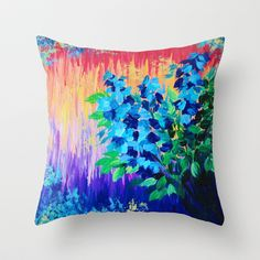 SHADES OF BEAUTIFUL - Stunning Bright BOLD Rainbow Ombre Pattern Blue Floral Hyacinth Nature Autumn Throw Pillow by EbiEmporium - $20.00