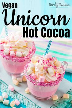 I decided I was tired of being cold and, frankly, wandering around the house with a blanket around you is, well, silly. So I made some Vegan Hot Chocolate (AKA Vegan Unicorn Hot Cocoa) to warm me up! #nerdymammablog #unicorn #hotcocoa #hotchocolate #vegan Natural Food Coloring, Gel Food Coloring, Yummy Drinks, Yummy Food, Vegan Hot Chocolate, Chocolate Food, Chocolate Recipes, White Chocolate, Unicorn Foods