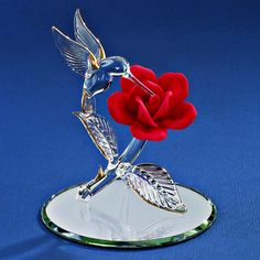 Glass Baron Hummingbird with Red Rose