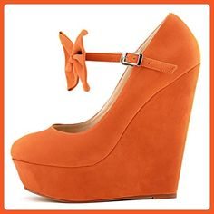 ZriEy Women's Faux Suede Wedge High Heel Bowknot Ankle Strap Boot Booties Velvet Orange size 7.5 - Boots for women (*Amazon Partner-Link)