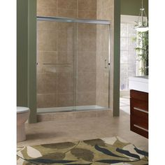 h semiframed sliding shower door in brushed nickel with 38 in clear glass