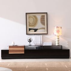 TV Stand 072 in Black High Gloss and Walnut