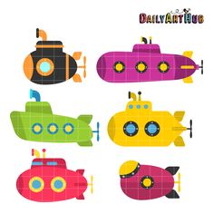 {FREE Cut File} Cute Submarines -- Available for FREE today only, June 17