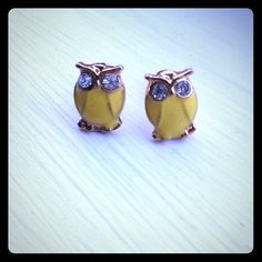 Owl Stud Earrings Brand new! Never worn. Adorable and classy gold-tone owl stud earrings. He is yellow all over front with diamond like studs for eyes.  Simple but chic! Fashion Earrings Jewelry Earrings