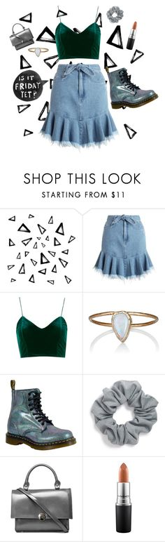 """friday."" by kathrynesker ❤ liked on Polyvore featuring Nika, Zimmermann, Julie Wolfe, Dr. Martens, Natasha and MAC Cosmetics"