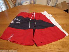 Men's swim trunks shorts Nautica surf L LG 1983 North coast mesh inside red blue