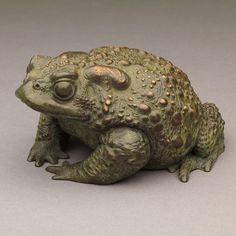 Toad II - Ltd Edition, really characterful, warty, life-size, Bronze Toad Sculpture, by Acclaimed Wildlife Sculptor, Nick Bibby.