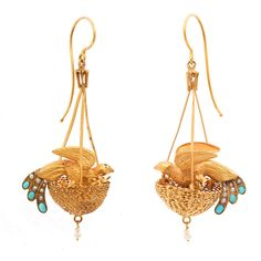 Love. Want.  Victorian Bird Nest Earrings  England, ca. 1870  Gold, turquoise, and pearl