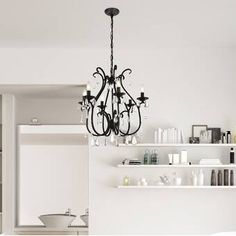 House of Hampton Beamond 6 - Light Candle Style Geometric Chandelier Square Chandelier, Chandelier For Sale, Lantern Chandelier, Wagon Wheel Chandelier, Candelabra Bulbs, Chandelier Lighting, Chandeliers, Bathroom Chandelier, Traditional Furniture