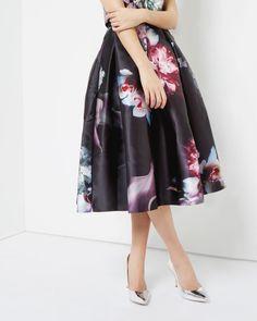 Ethereal Posie print full skirt - Black | Skirts & Shorts | Ted Baker