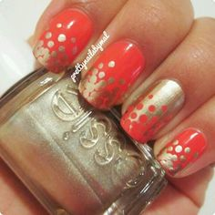 coral and gold dotticure