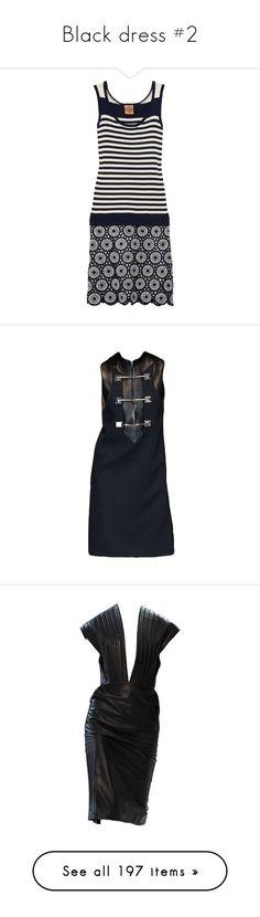 """Black dress #2"" by tiffaninorway ❤ liked on Polyvore featuring dresses, tory burch, navy, navy crochet dress, striped dress, drop-waist dresses, loose dresses, scalloped dress, edited and black dress"