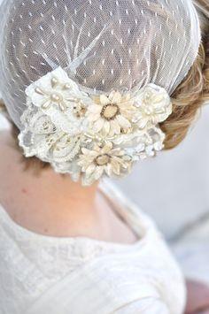 Vintage Inspired Bridal Cap, Flapper, Lace Cap, Juliet Bridal, Bridal Hat, Lace Hat, Bridal Veil, Bridal Crown -- JULIET. $75.00, via Etsy.