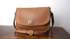 Vintage Coach City Bag, British Tan Leather, Large Basic Shoulder Bag, 1980s Classic Cross Body Coach Purse, Patina, I have one like this.