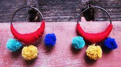 Aros artesanales con lana, $45 en http://ofeliafeliz.com.ar