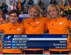 Dutch hattrick winning gold, silver and bronze at 500 meter iceskating with Michel Mulder as Olympic champion. #dutch #sochi2014 #olympics #michelmulder  #jansmeekens #ronaldmulder