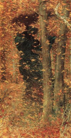 """""""And now, my poor old woman, why are you crying so bitterly? It is autumn. The leaves are falling from the trees like burning tears - the wind howls. Why must you mimic them?""""  ― Mervyn Peake, Titus Groan. (ART: 'Autumn' by Lucien Lévy-Dhurmer)."""