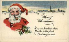 Santa Claus Smoking Pipe c1910 Postcard