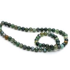 Green Moss Agate Round Beads #jewellerymaking #jewelrymaking #gemstones #kernowcraft #gemstonebeads