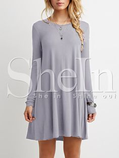 Vestido manga larga suelto  http://es.shein.com/Grey-Oxblood-Long-Sleeve-Casual-Babydoll-Dress-p-239979-cat-1727.html