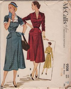 McCalls 9208 1950s Misses DRESS Pattern Gored Skirt V Neck womens vintage seiwng pattern by mbchills