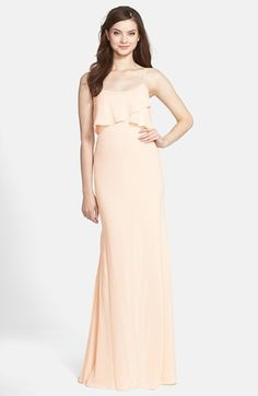 Jenny Yoo 'Blake' Bib Front Crêpe de Chine Gown at Nordstrom.com. Crisscrossed swaths of fabric overlaying the bodice enhance the romantic feel of this supple crepe gown. The fluid silhouette drapes from spaghetti straps, lightly grazing over curves before flaring into a lovely, floor-sweeping skirt.