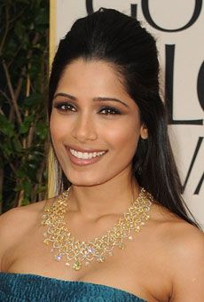 Sleek Half-Up Wedding Hairstyle Idea - Freida Pinto Golden Globes 2012