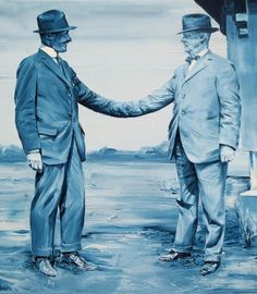 """In Law"", Paco Pomet, 2013  This image shows good use of value; since a monochromatic color scheme is being used, the values are important to show depth. The values of the man on the left's suit especially interest me."
