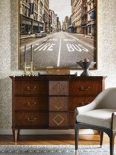 The Bess Dresser and Warren Chair shown with Maitland-Smith accessories - all designed by Alexa Hampton.  www.hickorychair.com